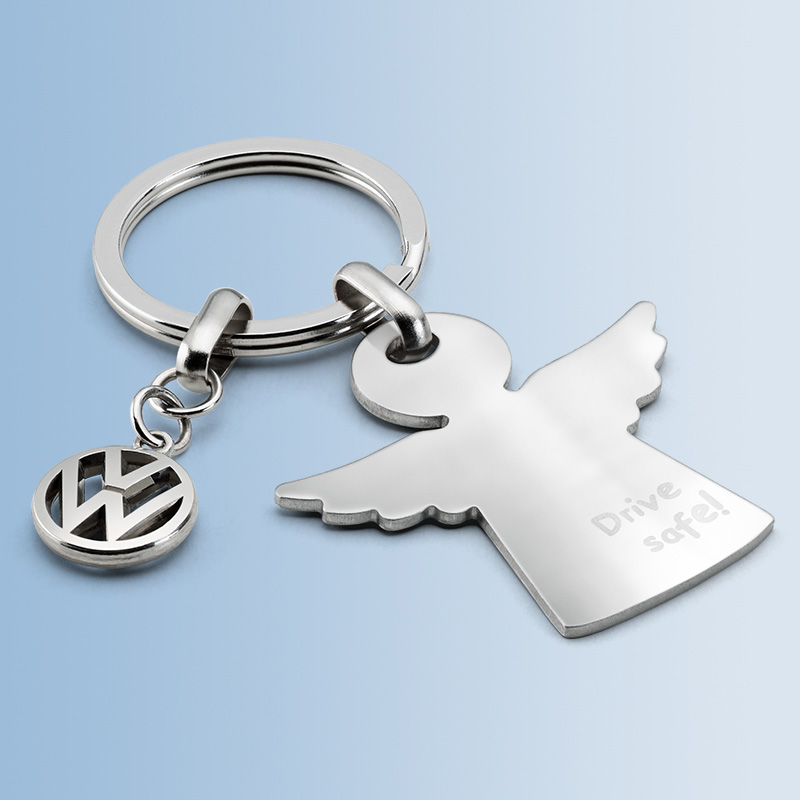 Original Volkswagen Schlüsselanhänger Schutzengel silber NEU