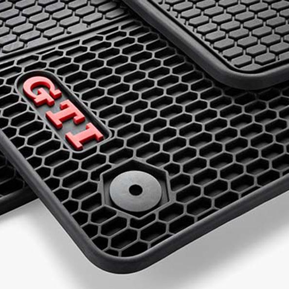 Original Volkswagen GTI Satz Allwetter Gummifußmatten vorn hinten  Golf VII