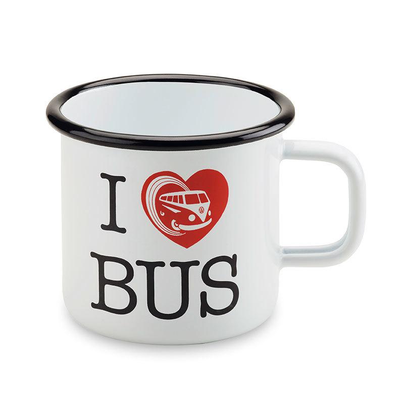 """Becher T1 Emaille in weiß mit rotem Druck """"I ♥ Bus"""", der obere Rand ist schwarz"""