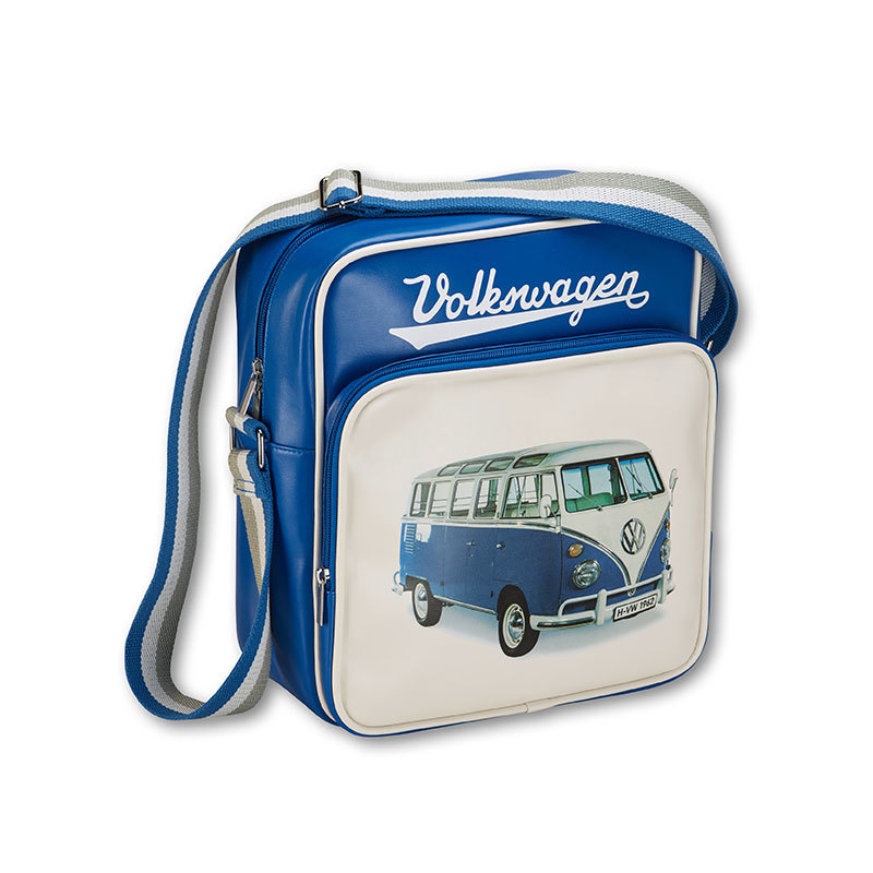 Retro-Schultertasche mit T1 Motiv, Volkswagen Schriftzug und Logo, viele Fächer