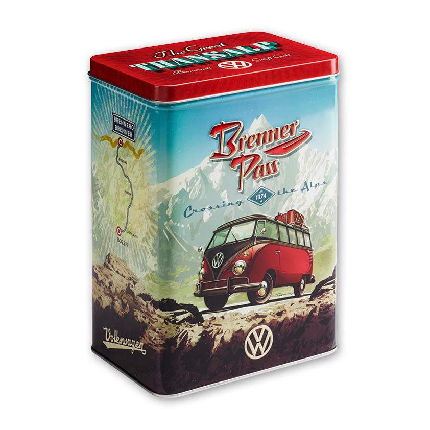 Blechdose T1 Samba mit 2,8 l Fassungsvermögen und T1 Samba Motiv in den Alpen