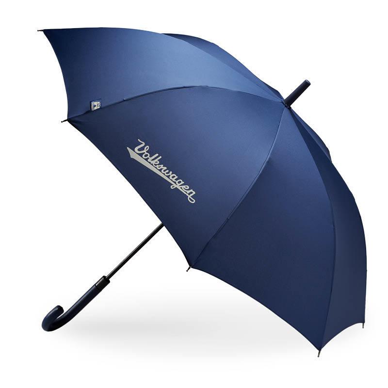 """VW Regenschirm """"Klassik"""", halbautomatisch mit dunkelblauem Echtleder-Griff"""