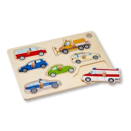 Holzsteckpuzzle aus Holz mit sieben Volkswagen Motiven.