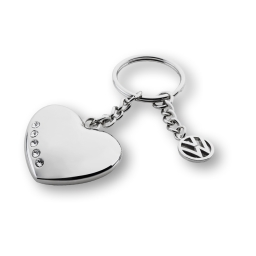 Schlüsselanhänger Swarovski mit einem 3-D-Herz und Volkswagen Logo