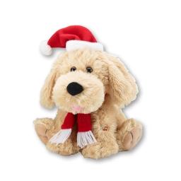 Singender Weihnachtshund mit Weihnachtsmütze und Schal, inkl. Batterien