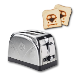 T1 Toaster aus Edelstahl mit stilvoller T1 Frontprägung und Röstlogo