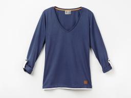 Original SEAT Damen T Shirt, Sweatshirt, Langarm, blau weiss, Größe S